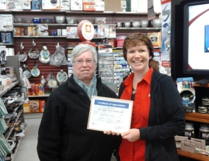 Myrtle Demerling presented an appreciation certificate to Patty Mock the owner of the Harriston Home Hardware Store for sending our boxes to Canadian Lutheran World Relief in Winnipeg. This past year we sent 40 boxes.