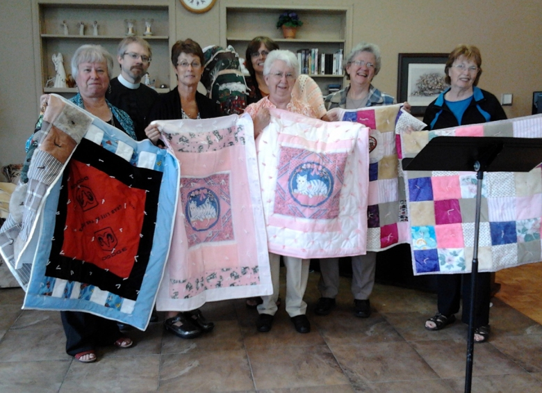 The Dorcas Society and LWMLC members presented lap quilts to the Fordwich Village Nursing Home to be used by their residents.
